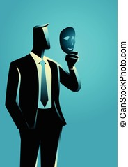 Businessman holding a mask in front of his face