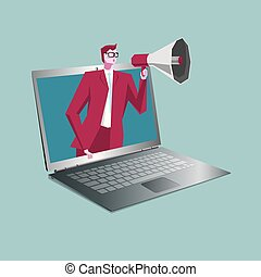 Businessman holding a megaphone, In the laptop, The background is blue.