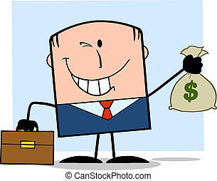 Businessman Holding A Money Bag - Winking Businessman With...