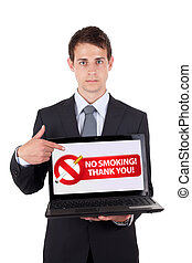 Businessman holding a NO SMOKING sign on white