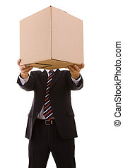 businessman holding a package