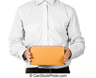 Businessman holding a paper box