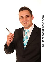 Businessman Holding a Pen