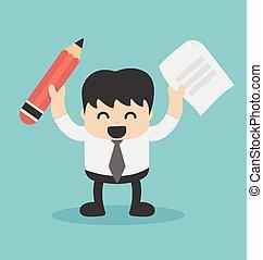Businessman holding a pencil, paper