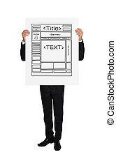 template web page - businessman holding a placard with...