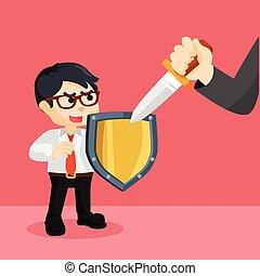 businessman holding a shield