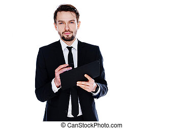 Businessman holding a tablet