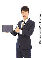 businessman holding a tablet or ipad and thumb up
