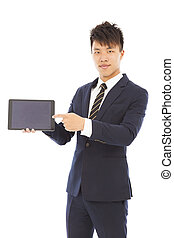 businessman holding a tablet to presenting