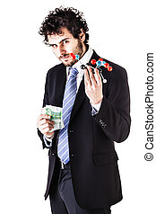businessman holding a tnt molecule and money - a businessman...