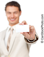 Businessman holding a white card