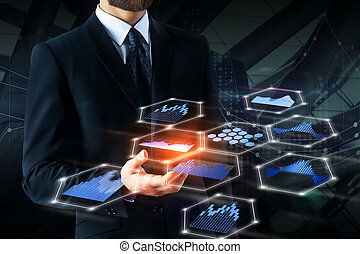 Future, technology and analytics concept