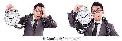 Businessman holding alarm clock isolated on white