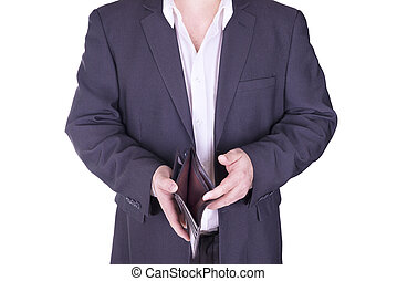 Businessman holding an empty wallet.