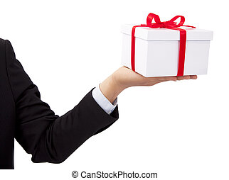 Businessman holding and offer a gift