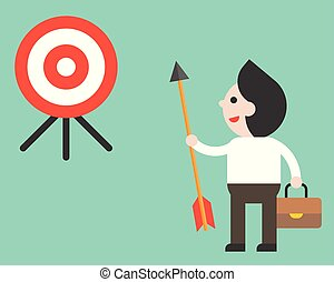 Businessman holding arrow and look at target determined to reach his goal, flat design vector