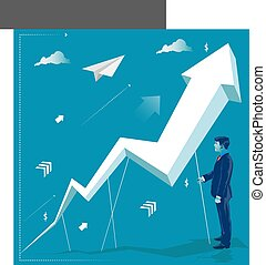 Businessman holding arrow. Business concept vector illustration