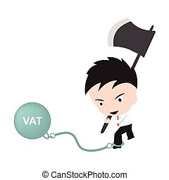"Businessman holding axe and aiming to cut the chain with wording ""VAT"", reduce costing concept"