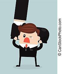 Businessman holding big businessman foot, flat design