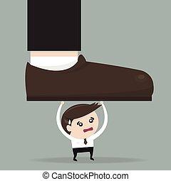 Businessman holding big businessman foot, flat design, vector