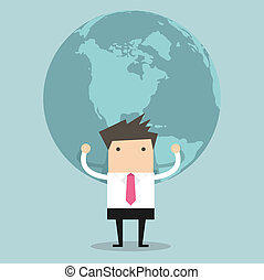 Businessman holding big globe