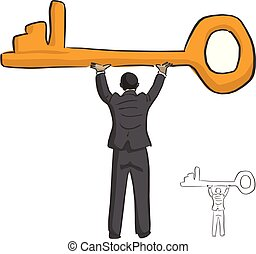 businessman holding big golden key over his head vector illustration sketch doodle hand drawn with black lines isolated on white background