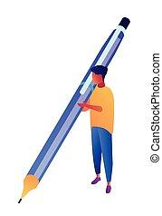 Businessman holding big pen and writing isometric 3D illustration.