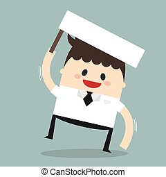 Businessman holding blank paper over head ,Vector cartoon concept abstract business