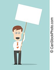 Businessman holding blank signboard with copyspace