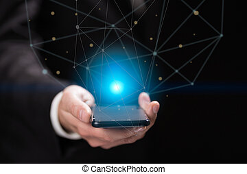 Businessman holding blue crystal ball - Businessman hand...
