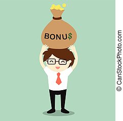 Businessman holding bonus.