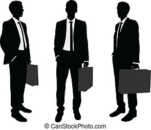 Businessman holding briefcase silhouettes - vector