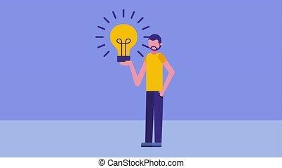 businessman holding bulb idea creativity success