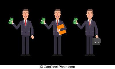 Businessman holding bundle money folder and suitcase. Alpha...