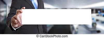 Businessman holding business card