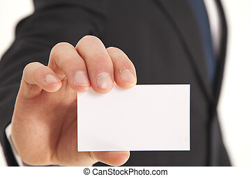 Businessman holding business card - Head and shoulder...