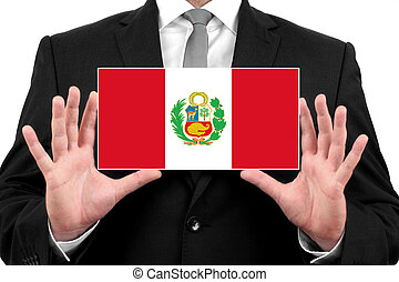 Businessman holding business card with Peru Flag