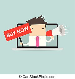 Businessman holding BUY NOW sign and megaphone in computer notebook.