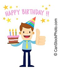 Businessman Holding Cake Saying Happy Birthday