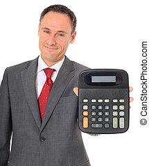 Businessman holding calculator