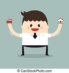 Businessman holding car and house model on his hands, flat design, vector, dream concept