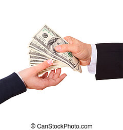 Businessman holding cash dollars in the hands