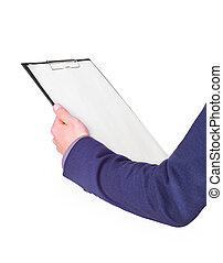 Businessman holding clipboard. Isolated on white background