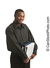 Businessman holding clipboard smiling isolated