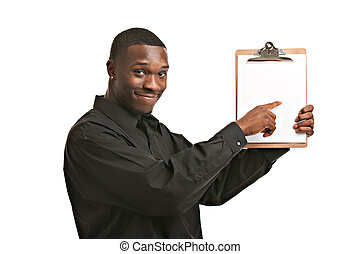 Businessman holding clipboard smiling isolated - Friendly...