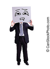 businessman holding confused expression billboard