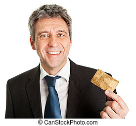 Businessman holding credit card. Isolated on white