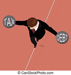 Businessman holding debt weight and tax weight on a wire