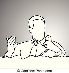 businessman holding desk telephone for a while vector illustration doodle sketch hand drawn with black lines isolated on gray background. Business concept.