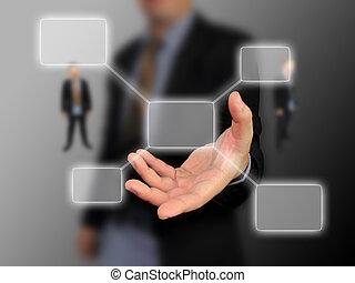 Businessman holding diagram
